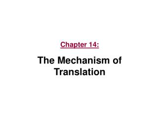 Chapter 14: The Mechanism of Translation