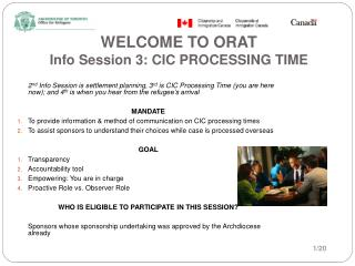 PPT - WELCOME TO ORAT Info Session 3: CIC PROCESSING TIME PowerPoint
