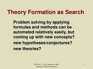 Theory Formation as Search