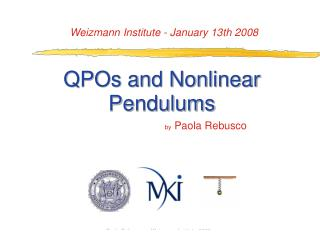 QPOs and Nonlinear Pendulums