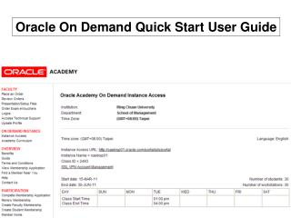 Oracle On Demand Quick Start User Guide