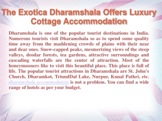The Exotica Dharamshala Offers Luxury Cottage Accommodation