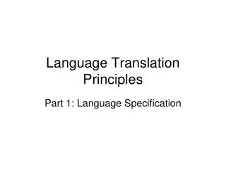 Language Translation Principles