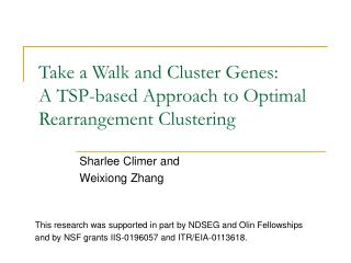 Take a Walk and Cluster Genes:  A TSP-based Approach to Optimal Rearrangement Clustering