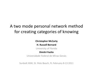 A two mode personal network method for creating categories of knowing