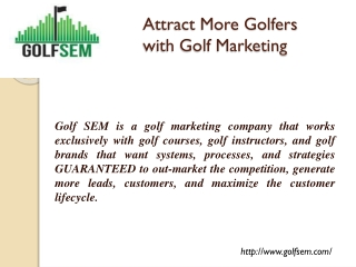Attract More Golfers with Golf Marketing