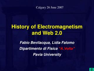 History of Electromagnetism and Web 2.0