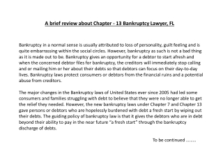 A brief review about Chapter - 13 Bankruptcy Lawyer, FL