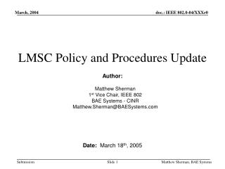 LMSC Policy and Procedures Update