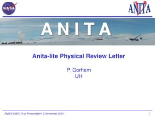 Anita-lite Physical Review Letter P. Gorham UH