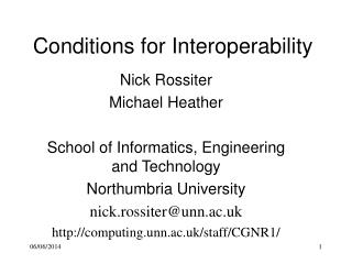Conditions for Interoperability