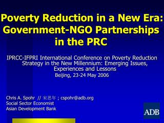 Poverty Reduction in a New Era: Government-NGO Partnerships in the PRC