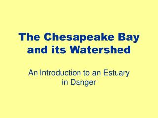 The Chesapeake Bay and its Watershed