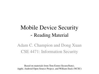 Mobile Device Security -  Reading Material