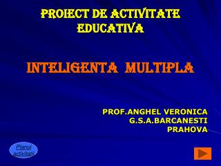 PROIECT DE ACTIVITATE EDUCATIVA
