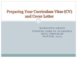 Preparing Your Curriculum Vitae CV and Cover Letter