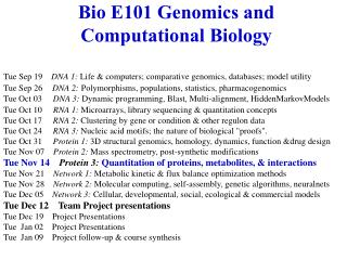 Bio E101 Genomics and Computational Biology