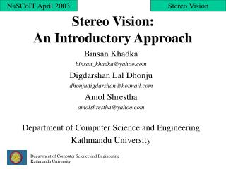 Stereo Vision:  An Introductory Approach