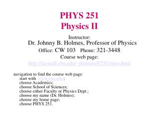 PHYS 251 Physics II