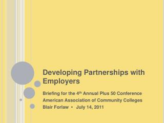 Developing Partnerships with Employers