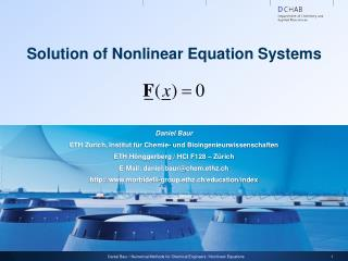 Solution of Nonlinear Equation Systems