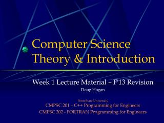 Computer Science Theory & Introduction