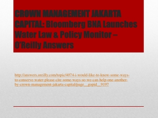 CROWN MANAGEMENT JAKARTA CAPITAL: Bloomberg BNA Launches Wat