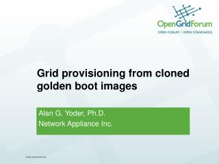 Grid provisioning from cloned golden boot images