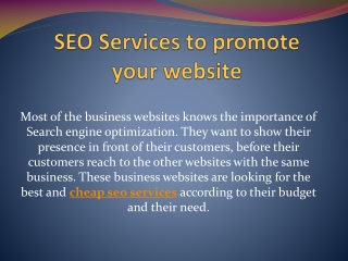 SEO Services to promote your website