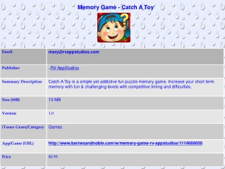 Memory Game - Catch A Toy