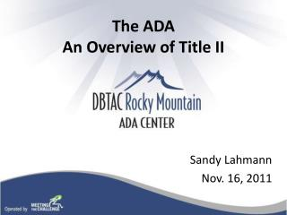The ADA  An Overview of Title II