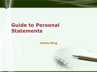 Guide to Personal Statements