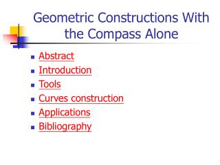 Geometric Constructions With the Compass Alone