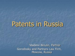 Patents in Russia