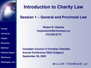 Introduction to Charity Law  Session 1   General and Provincial Law