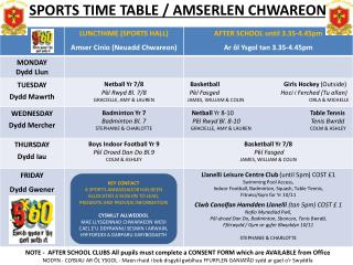 SPORTS TIME TABLE / AMSERLEN CHWAREON
