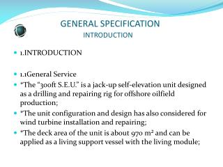 GENERAL SPECIFICATION                                    INTRODUCTION