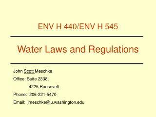 Water Laws and Regulations