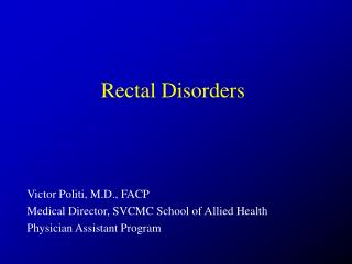 Rectal Disorders