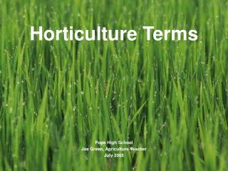 Horticulture Terms