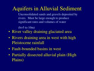 Aquifers in Alluvial Sediment
