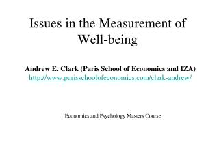 Issues in the Measurement of Well-being