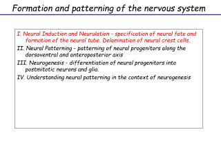 Formation and patterning of the nervous system