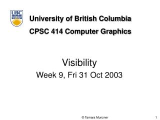 Visibility Week 9, Fri 31 Oct 2003