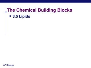 The Chemical Building Blocks