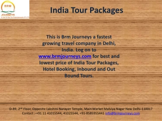 Holidays in India, India Tour Packages-Brm Journeys