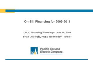 On-Bill Financing for 2009-2011