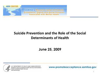 Suicide Prevention and the Role of the Social Determinants of Health