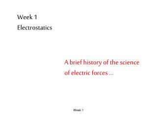 Week 1 Electrostatics