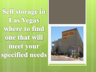 Self storage in Las Vegas where to find one that will meet y